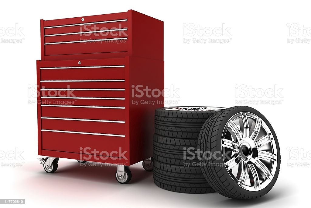 Red toolbox and a set of wheels royalty-free stock photo