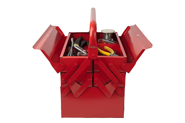 Red toolbox from front with tools stock photo