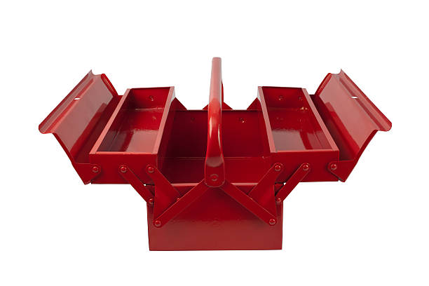 Red toolbox front with open trays stock photo