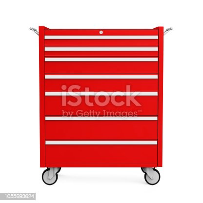 istock Red Tools Cabinet Isolated 1055693624