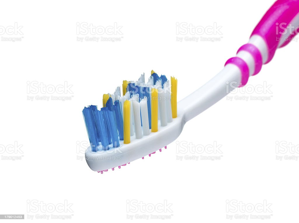 Red toothbrush bristles with color royalty-free stock photo