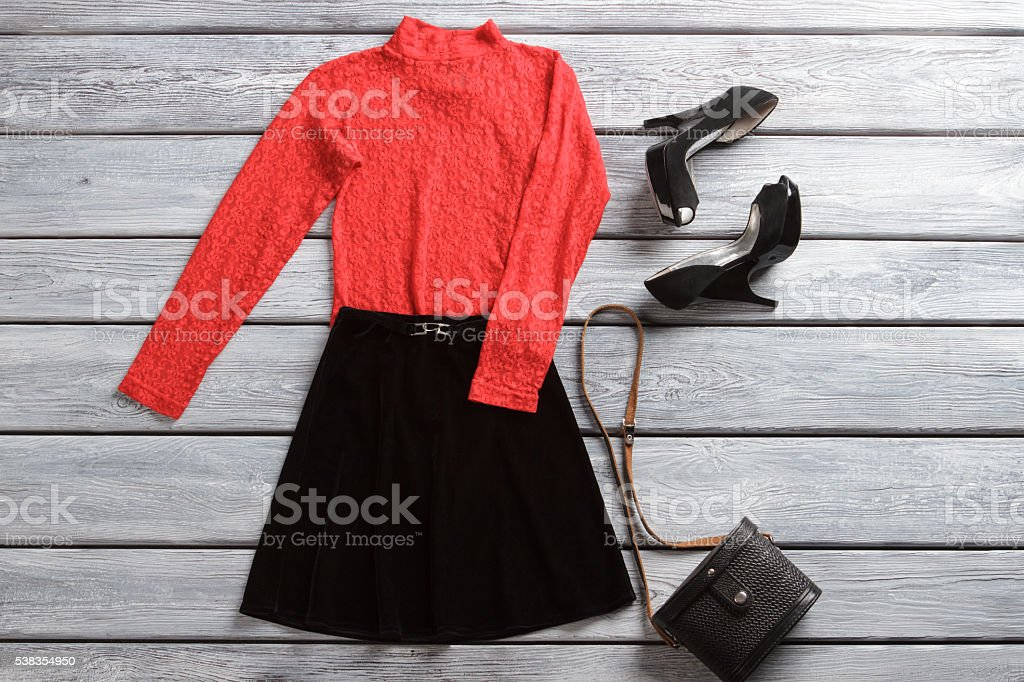 83412f0f82 Red Top And Black Skirt Stock Photo & More Pictures of Adult - iStock