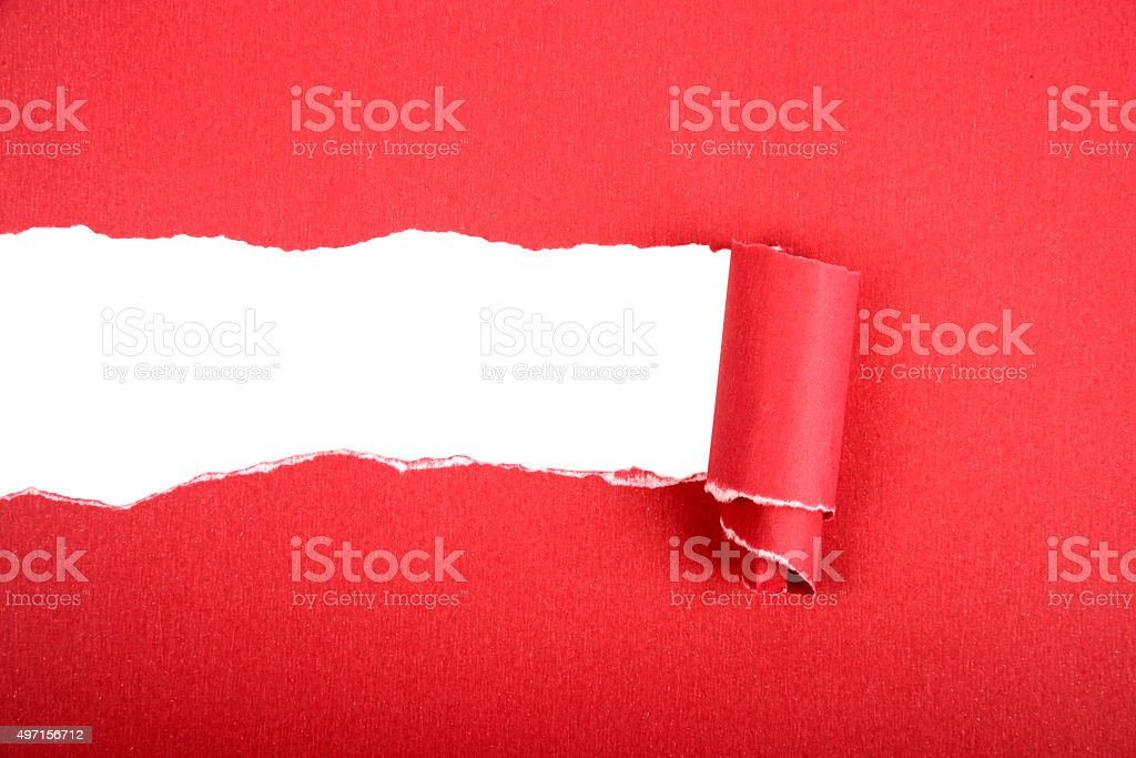 Red Torn Paper stock photo