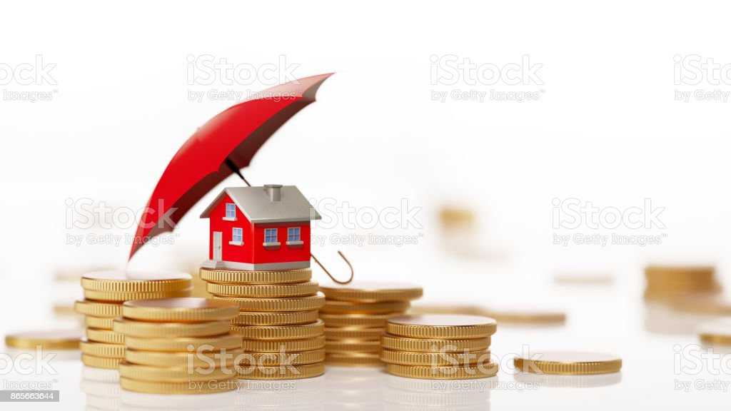 Red Toy House Sitting On White Background Behind Coin Stack: Insurance And Real Estate Concept stock photo