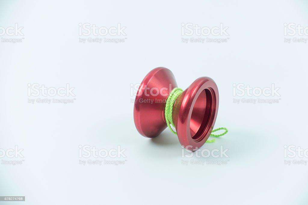 red toy yo yo isolated on white background stock photo