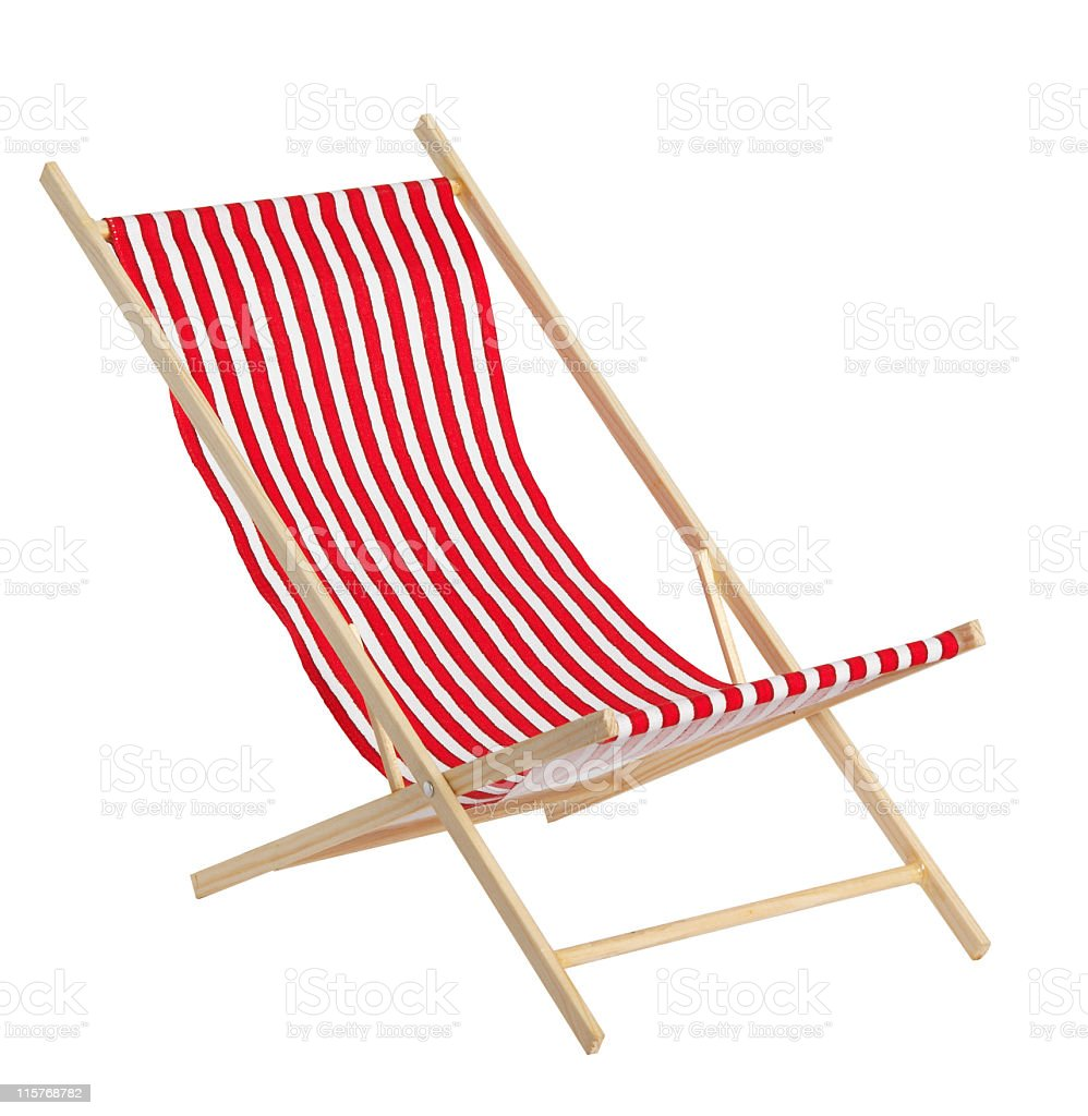 Red toys chaise longue on white background stock photo