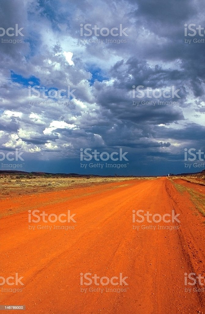 Red track in the outback royalty-free stock photo