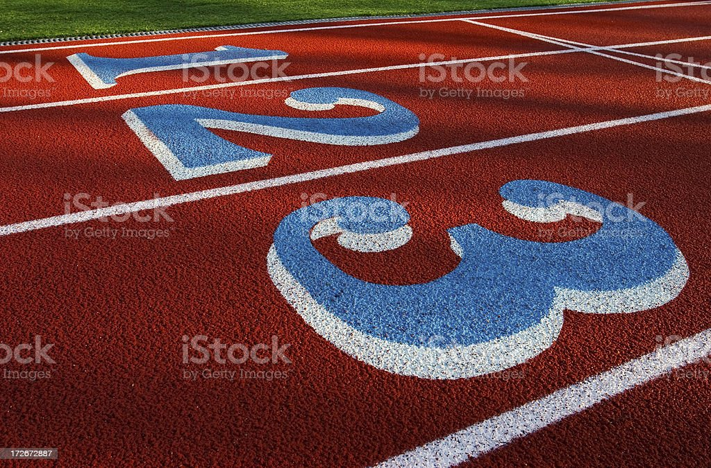 Red Track Lanes 1,2,3 royalty-free stock photo