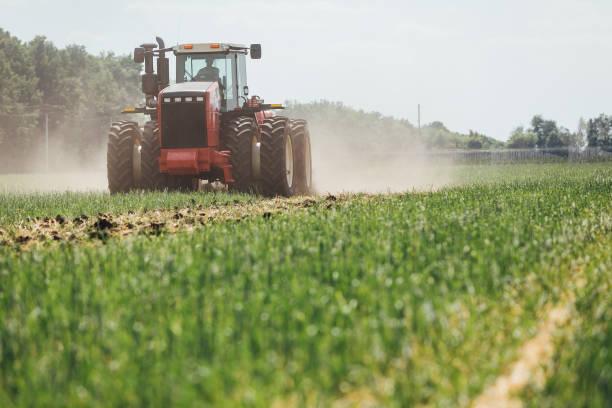 roter Traktor auf der grünen Wiese – Foto
