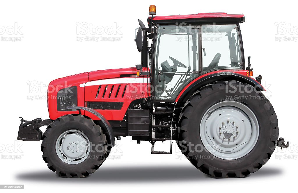 Red tractor stock photo