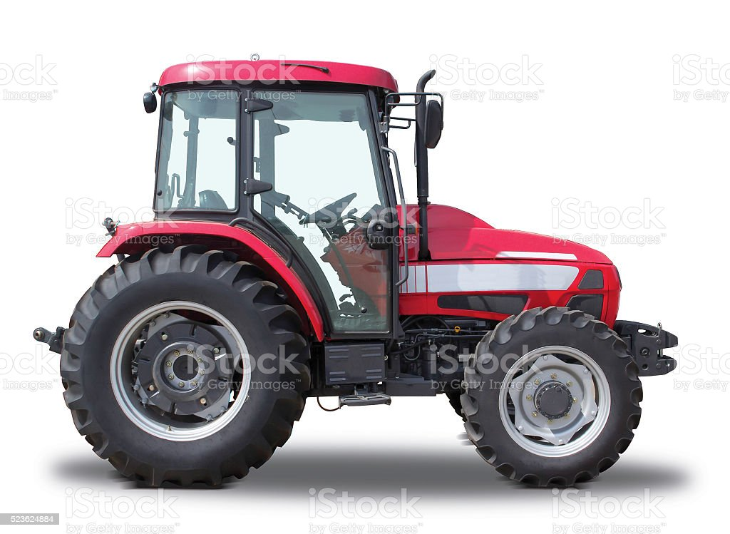 Red tractor.side view stock photo