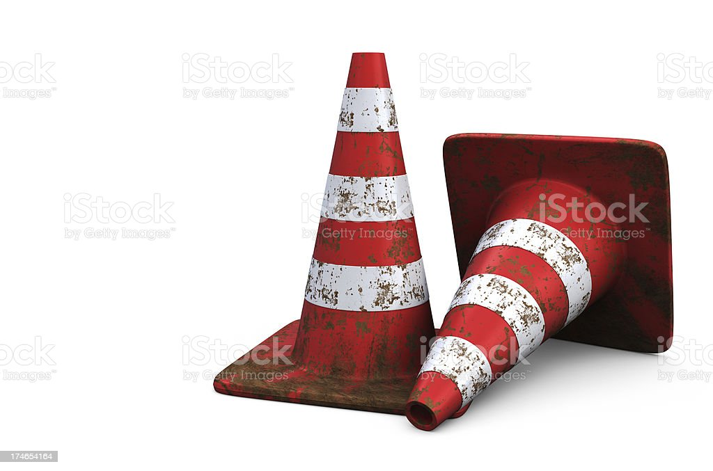 Red Traffic Cones with Dirt stock photo