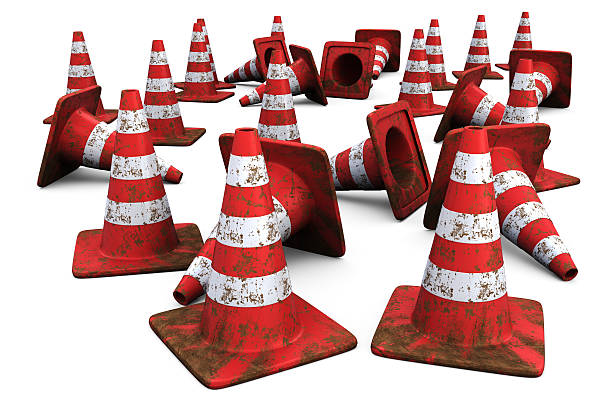 Red Traffic Cones with Dirt Scattered around stock photo