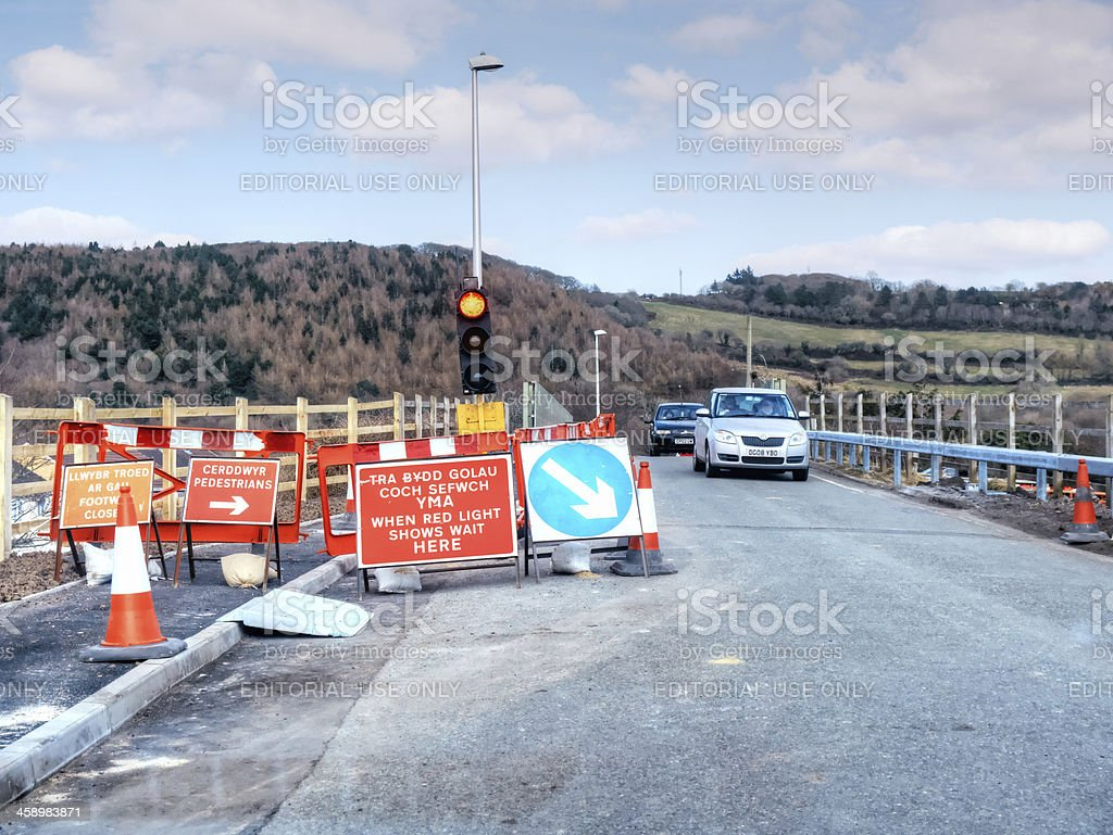 Red traffic light at roadworks construction royalty-free stock photo