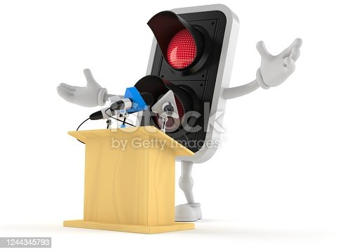 Red traffic light character gives a presentation isolated on white background. 3d illustration
