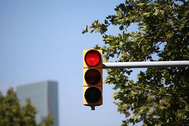 red traffic light intersection ストックフォト