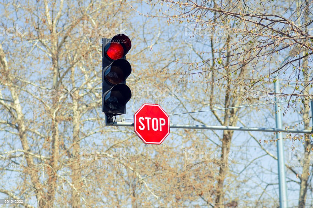 Red Traffic Light With Stop Sign royalty-free stock photo