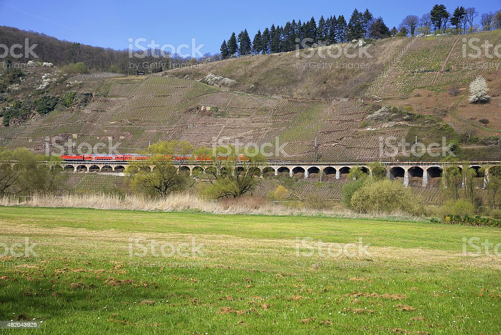 Red train drives on Viaduct  through vineyards royalty-free stock photo