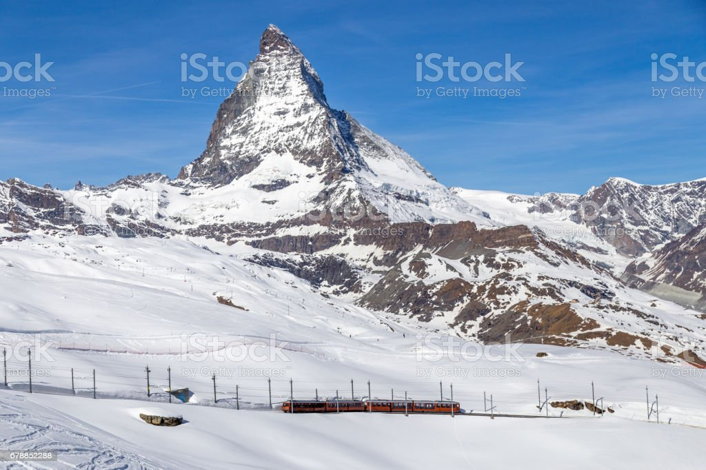 Red Train in front of Matterhorn stock photo