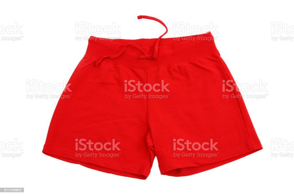 Isoliert auf weißem Hintergrund rot Trainings-shorts – Foto