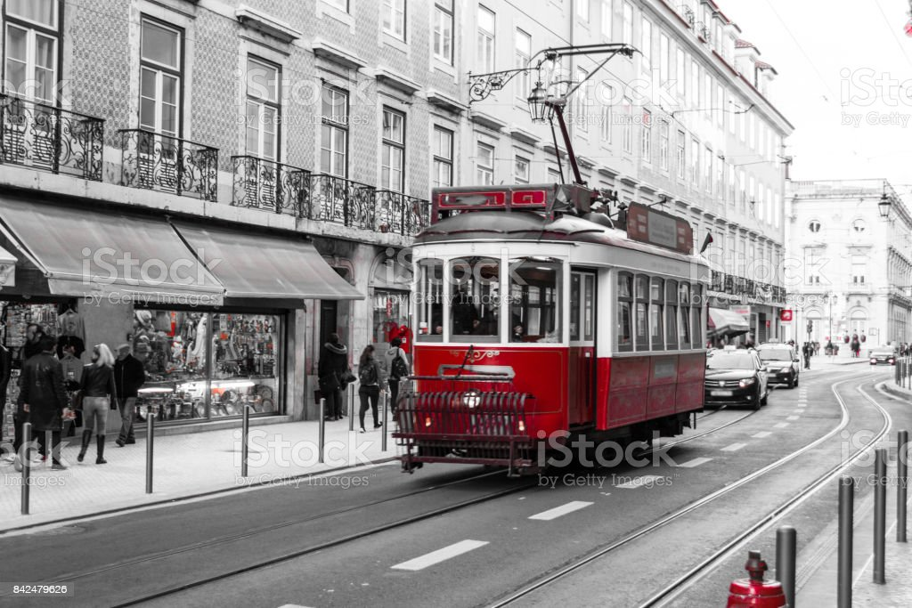Red tram in Lisbon (Portugal) stock photo