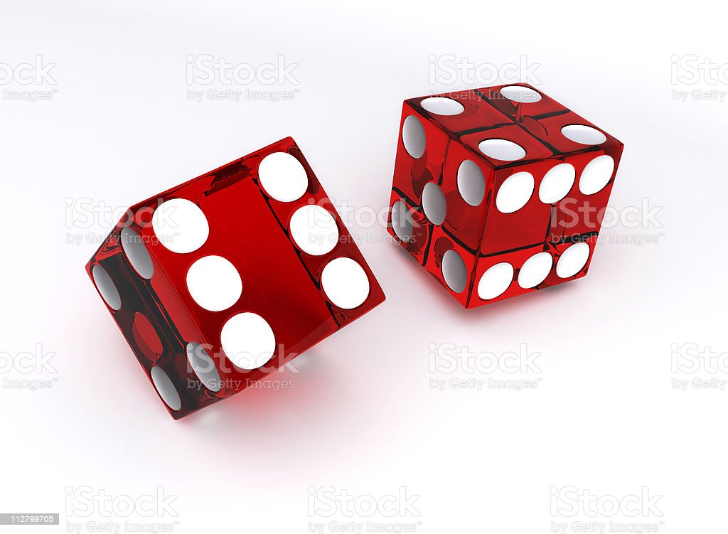 Red transparent dices royalty-free stock photo