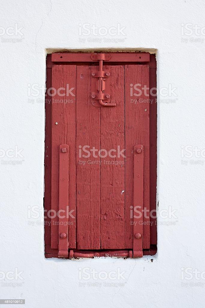 Red trapdoor stock photo