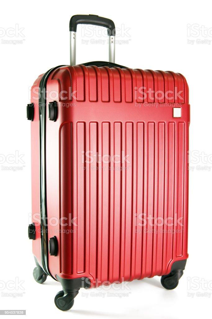 Roten Reisegepäck isoliert auf weißem Hintergrund Lizenzfreies stock-foto