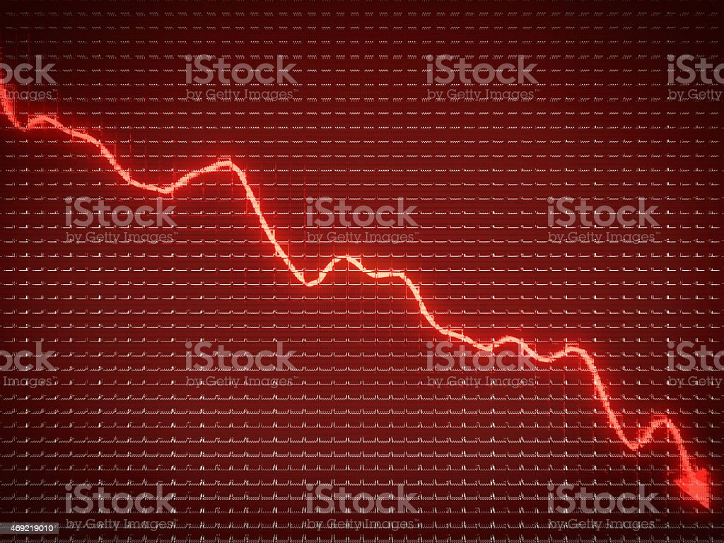 Red trend as symbol of business recession and financial crisis stock photo