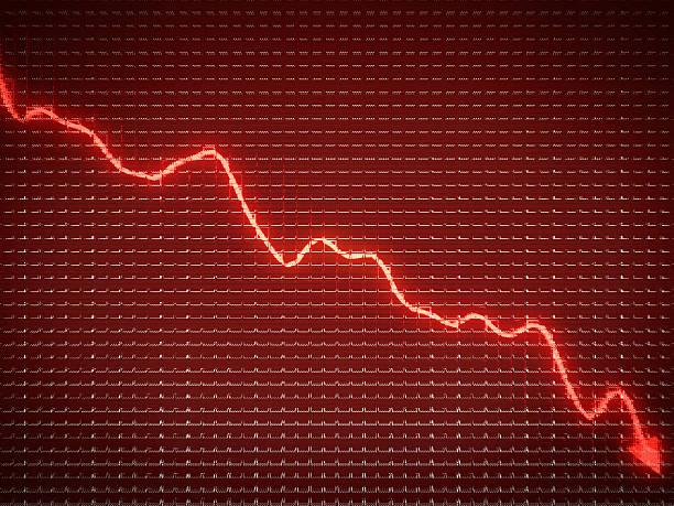 red trend als symbol der geschäftlichen und finanziellen krise rezession - börsencrash stock-fotos und bilder