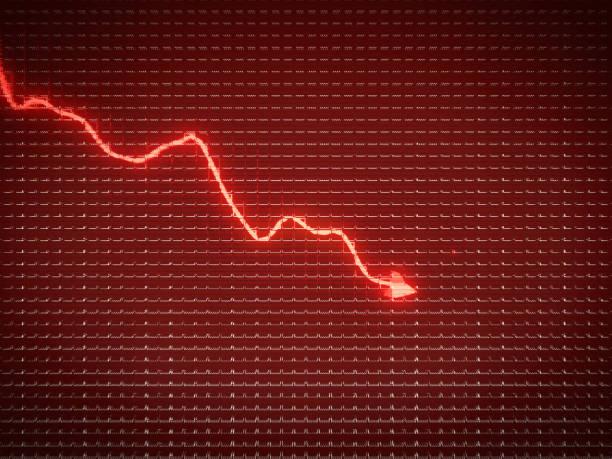 紅色趨勢是經濟下滑或金融危機的象徵。業務模式 - 往下移 個照片及圖片檔