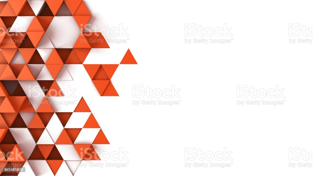 Red triangles extruded and free space 3D render stock photo