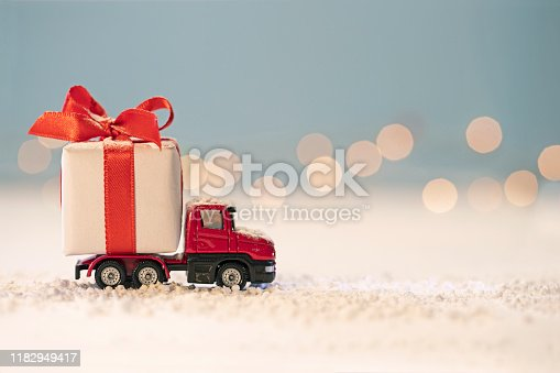 Red truck with  Gift