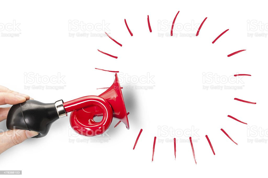 Red trumpet blank announcement stock photo