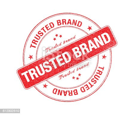 istock Red Trusted Brand Stamp On White 512302510