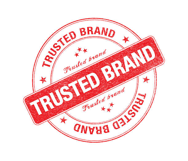 Red Trusted Brand Stamp On White stock photo