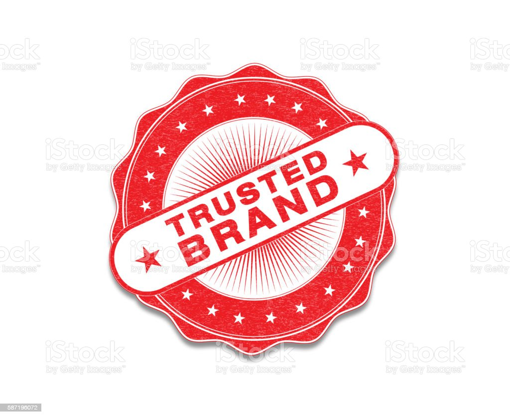 Red 'Trusted Brand' Stamp On White stock photo