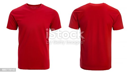 Red tshirt, clothes on isolated white background