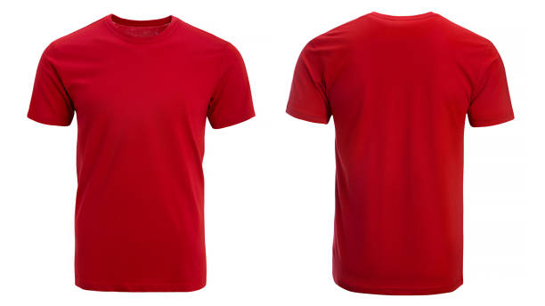 Red tshirt, clothes Red tshirt, clothes on isolated white background red shirt stock pictures, royalty-free photos & images