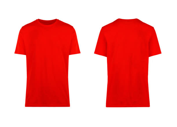 red t-shirt, front and back view red t-shirt, front and back view, clothes on isolated white background red shirt stock pictures, royalty-free photos & images