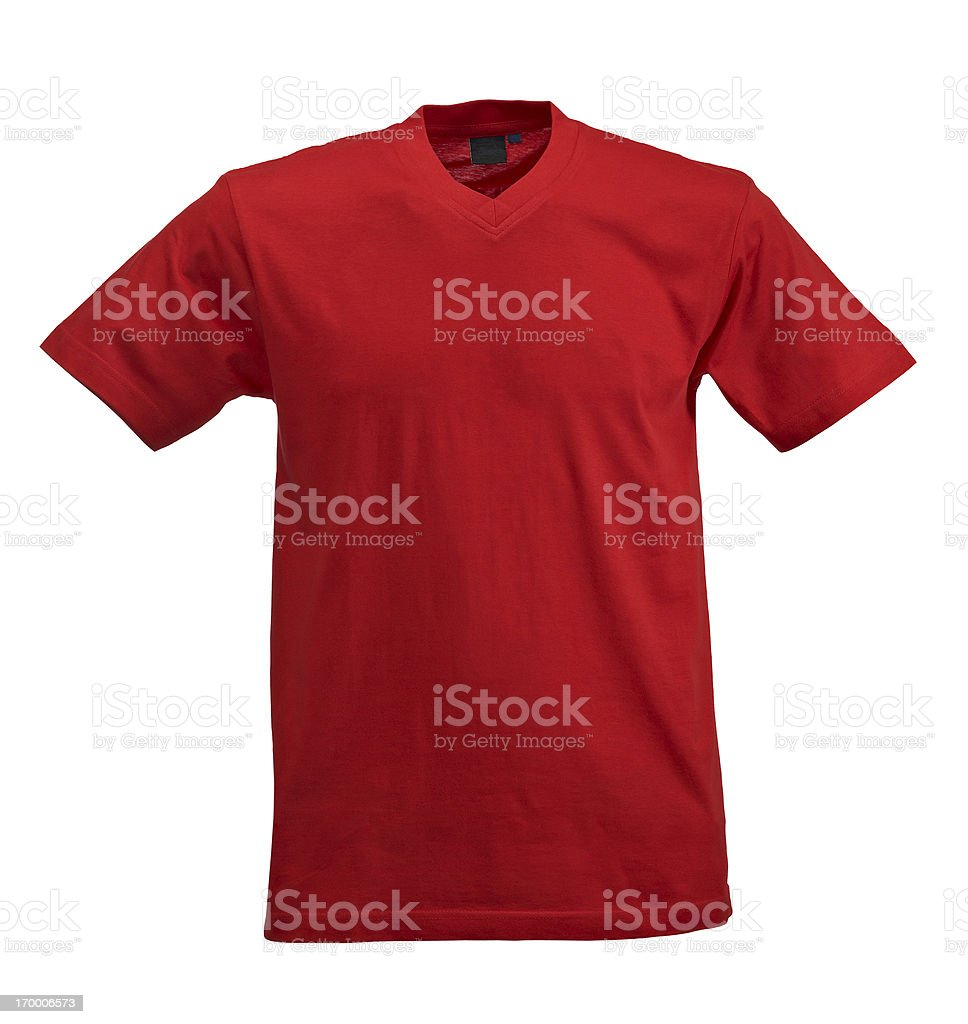 Red t-shirt on white background stock photo