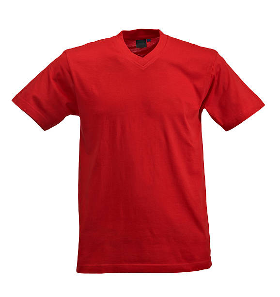Red t-shirt on white background Studio shot vertical red shirt stock pictures, royalty-free photos & images