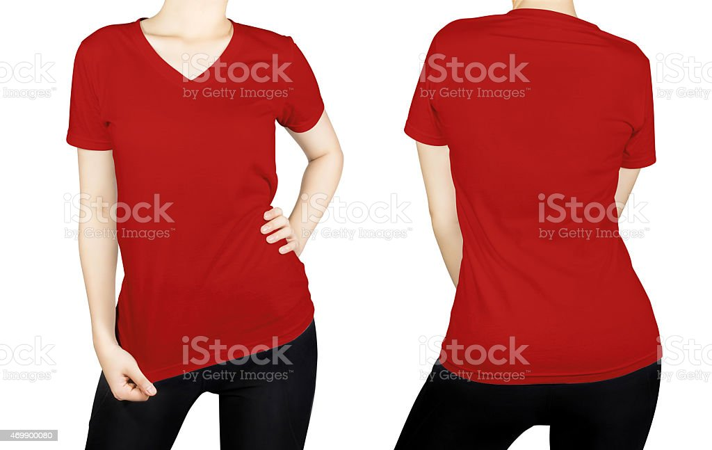 Red T-shirt on woman body with front and back side. stock photo