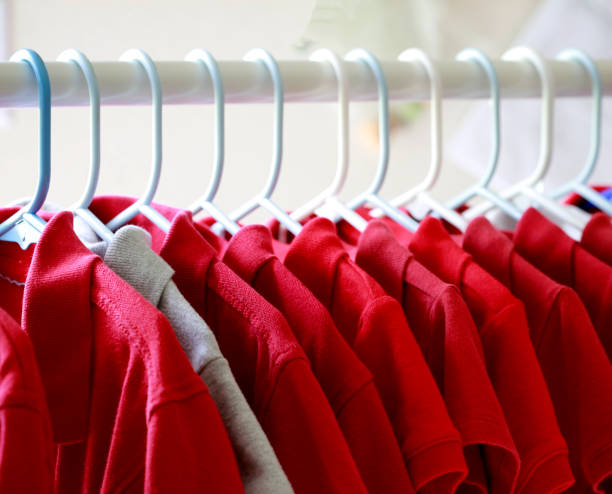 Red T-shirts stock photo