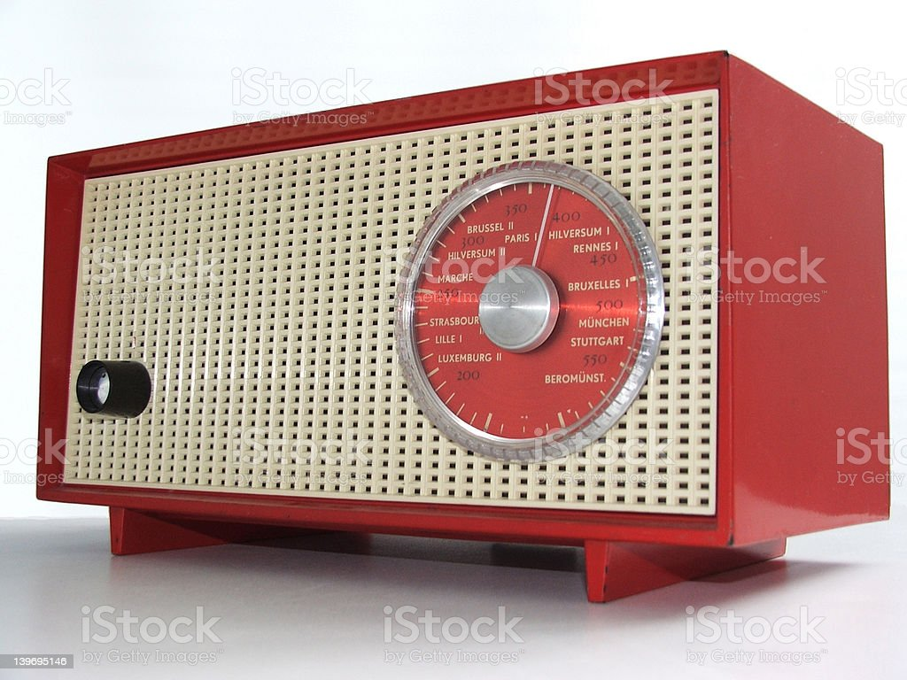 Red tube radio from the sixties royalty-free stock photo