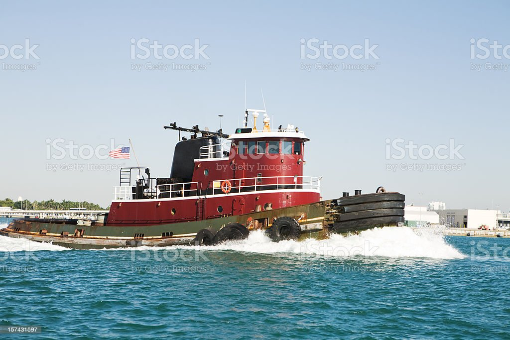 Red Tug Boat in Ocean royalty-free stock photo
