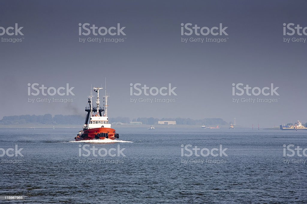 Red tugboat royalty-free stock photo