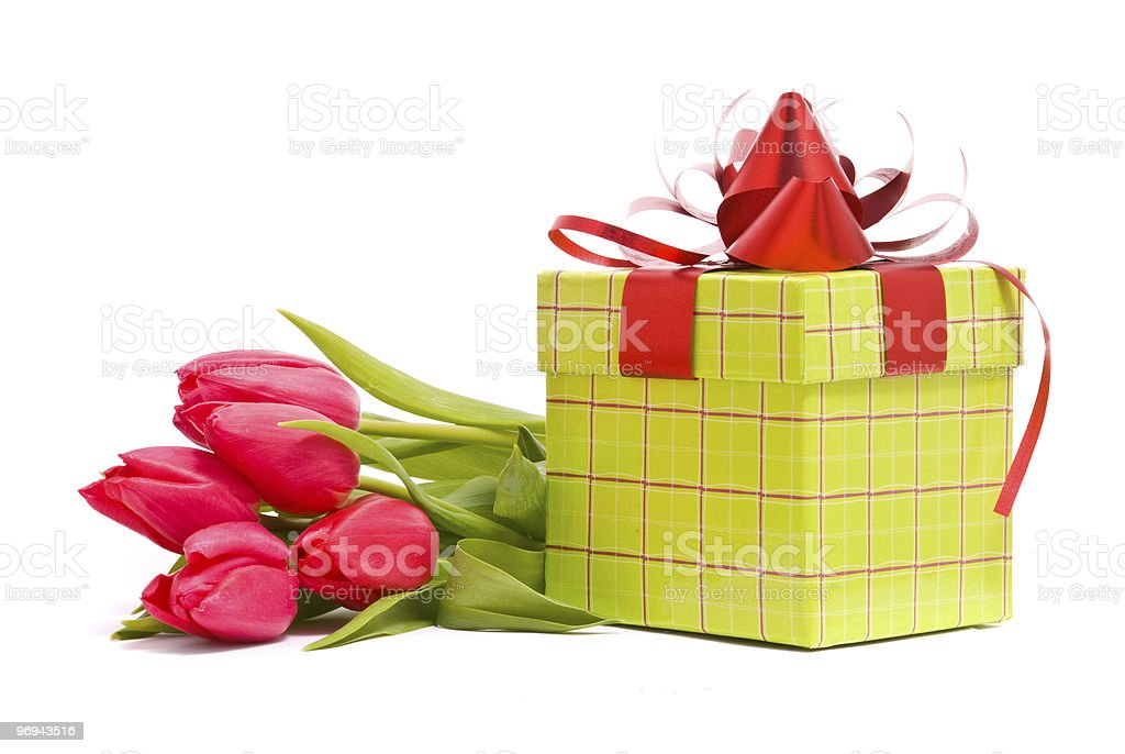Red tulips and gift box royalty-free stock photo