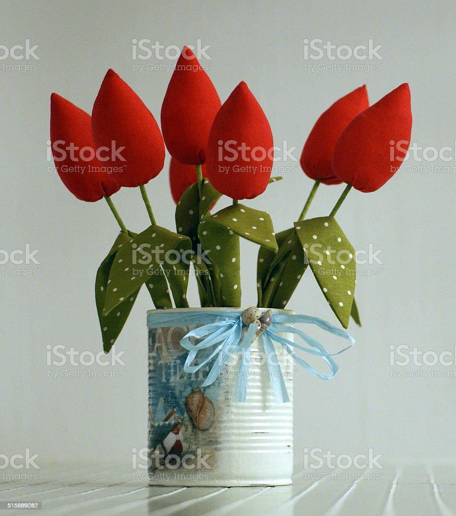 Red tulips, decoupage in a marine style stock photo