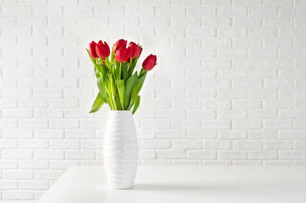 red tulips in white vase against white bricks background - vase stock pictures, royalty-free photos & images